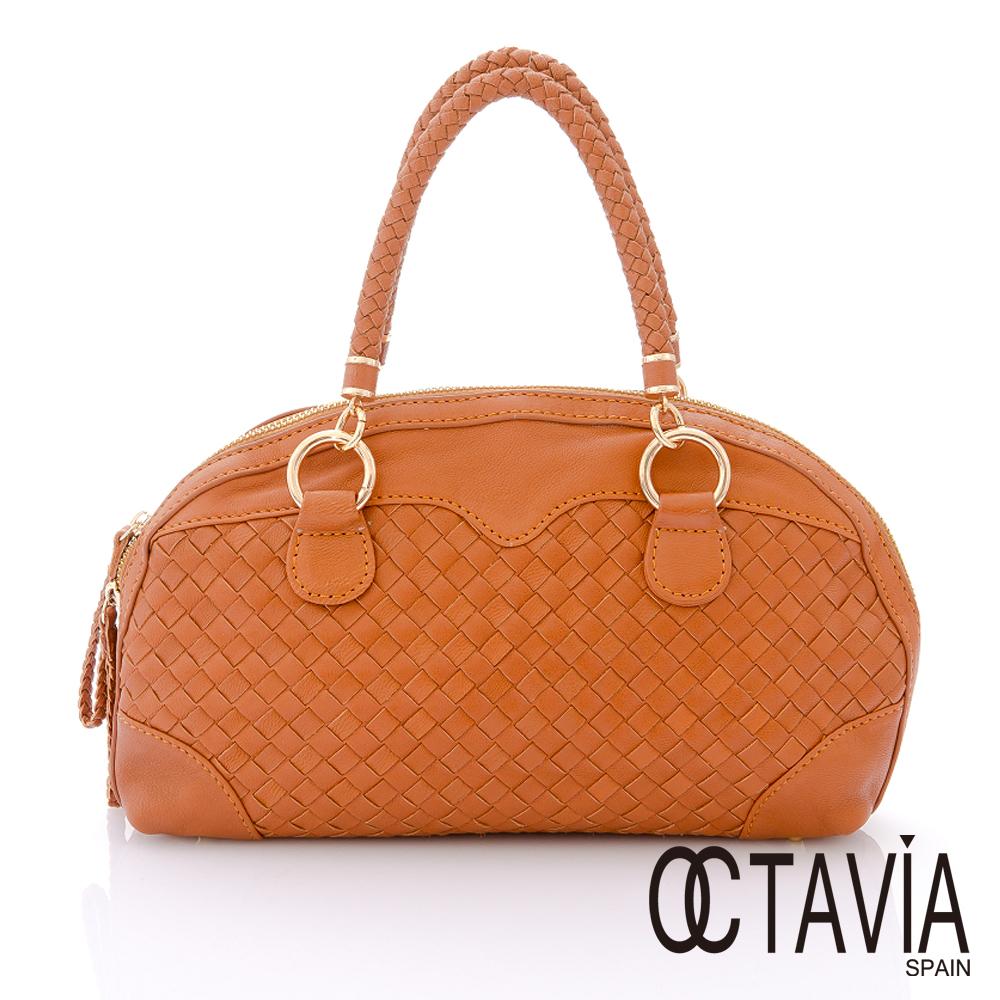 Octavia 8 真皮 -  桂冠詩人 半月牛皮編織手提小包  -  卡布咖