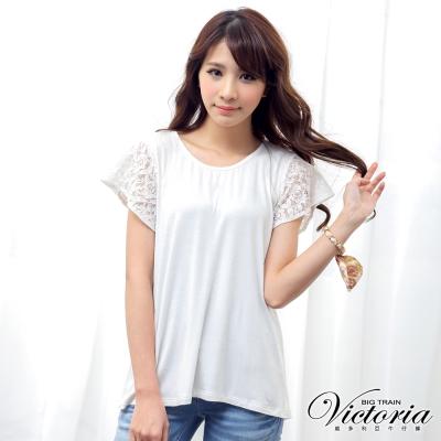 Victoria 蕾絲接袖素色TEE-女-白
