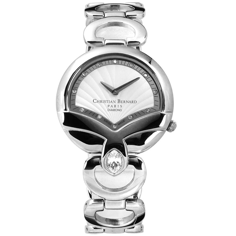 CHRISTIAN BERNARD 伯納錶 白剛玉真鑽瑞士製造不鏽鋼手錶-銀色/32mm