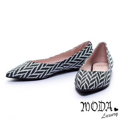 平底鞋 MODA Luxury 優雅美型穗麥圖騰羊皮尖頭平底鞋-黑