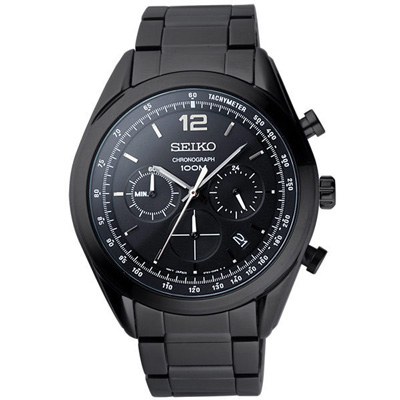 SEIKO 戰場之絆三環計時腕錶-黑-45mm