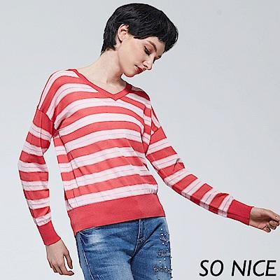SO NICE時尚V領銀蔥條紋針織上衣