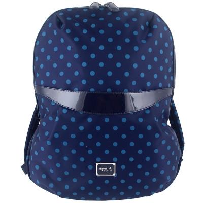 agnes b. 圓形點點藍色尼龍布拉鍊後背包(大)