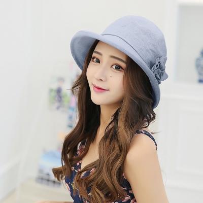 幸福揚邑 韓防曬抗UV大帽檐捲邊棉麻可摺疊遮陽帽花朵漁夫帽-藍