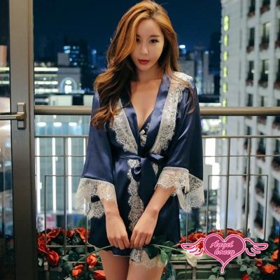 罩衫 輕柔夜眠 外罩三件式絲滑性感睡衣(深藍F) AngelHoney天使霓裳