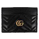 GUCCI Marmont 黑色車縫皮革雙G標誌票卡名片夾