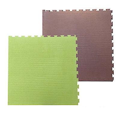 新生活家2cm雙色翻轉抗菌地墊100x100熱帶叢林-粉綠/咖4入