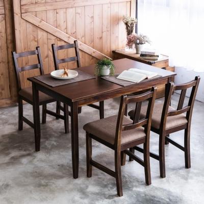CiS自然行- 實木餐桌椅組一桌四椅 74x118公分/焦糖+深咖啡椅墊