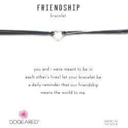 Dogeared Friendship 銀色愛心手鍊 迷你墜 黑X灰 防水繩衝浪手鍊