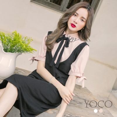 東京著衣-yoco 好女孩刺繡蝴蝶結綁帶雪紡上衣-S.M.L(共二色)