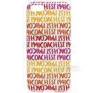 COACH LOGO字母滿版iPhone5手機保護殼(紅黃白)