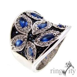 RingCity 藍寶色花與海造型戒