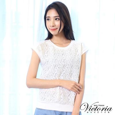 Victoria 蕾絲布拼接短袖T-女-白色