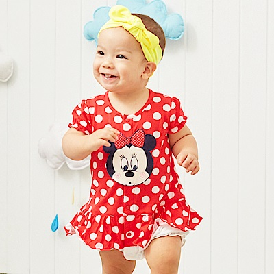 Disney baby 米妮系列 圓點甜心花苞連身裝 大紅