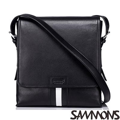 SAMMONS-真皮貝里斯知性斜背包-經典黑