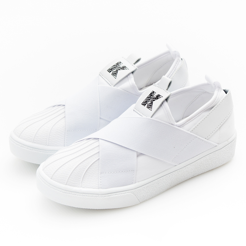 Camille's 韓國空運-正韓製-拼接網布交叉鬆緊帶休閒鞋-白色