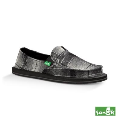 SANUK 口袋系列內刷毛格紋懶人鞋-女款(黑色)