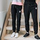 情侶系列~抽繩鬆緊字母棉感縮口休閒褲(女)-OB大尺碼