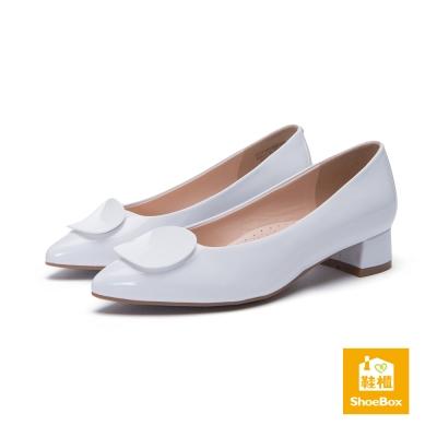 達芙妮DAPHNE-dulala系列-霧面飾片尖頭氣墊高跟鞋-白