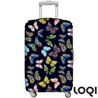 LOQI行李箱套 蝴蝶黑L號 適用28吋以上行李箱保護套