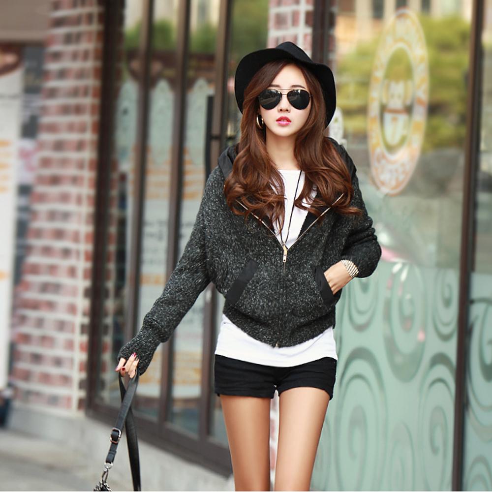 【N.C21】刷毛保暖連帽混色毛線外套 (黑色)
