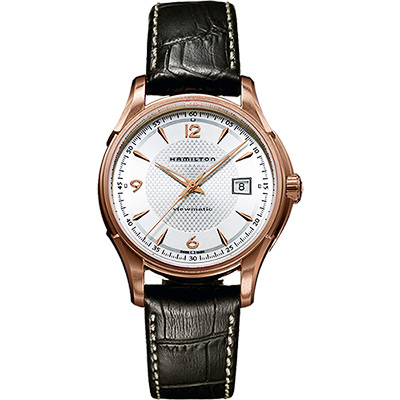 Hamilton Viewmatic 紳士大三針機械腕錶-玫瑰金框x咖啡/40mm