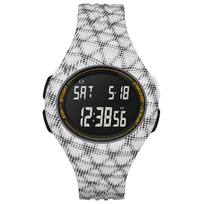 adidas 潮流曲線數位電子腕錶-白黑網格/42mm