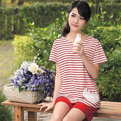 華歌爾睡衣 仕女系列 純綿居家休閒 M-L 短袖睡衣褲(條紋紅)
