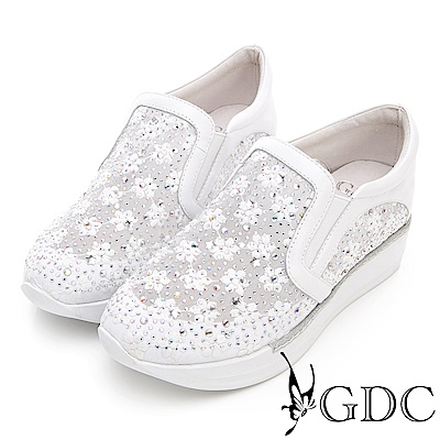 GDC-熱銷NO.1真皮花朵簍空厚底休閒鞋-白色