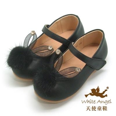 天使童鞋 D716 萌萌雪妍兔娃娃鞋(中-大童) 黑