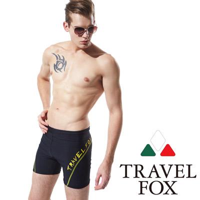 TRAVELFOX 旅狐 男泳褲 黑色五分泳褲 黃邊