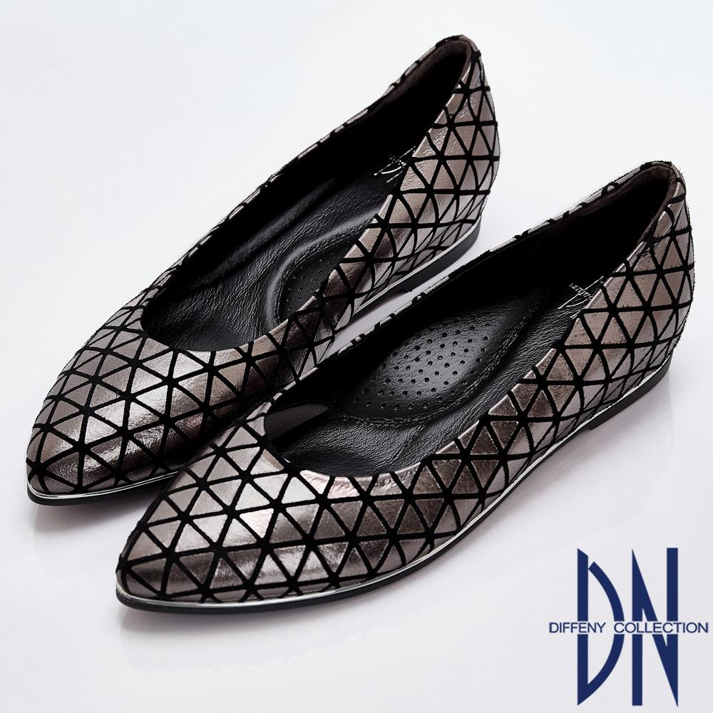 DN 高雅摩登 質感羊皮幾何內增高鞋-金屬灰