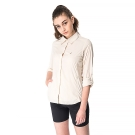 【hilltop山頂鳥】女款吸濕排汗抗UV輕量長袖襯衫S05F63-卡其