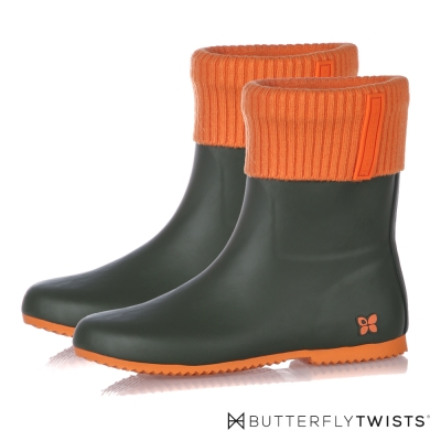 BUTTERFLY TWISTS-ETON布面可拆式雨靴-深綠/橘