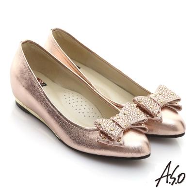 A.S.O 璀璨系列 亮鑽結飾金箔牛皮內增平底鞋 粉金