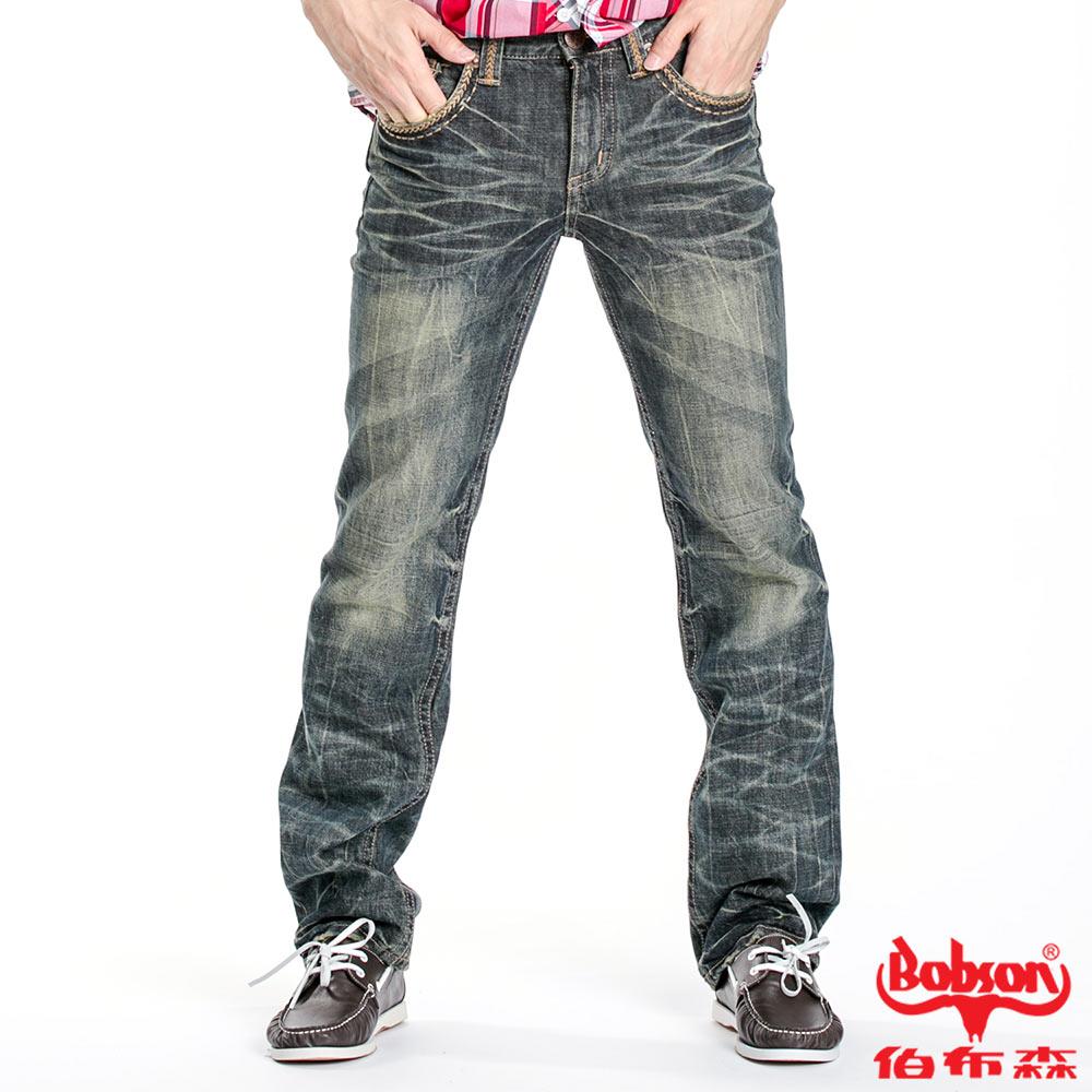 BOBSON 男款立體貓鬚壓褶直筒褲(藍52)