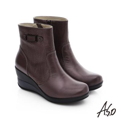 A.S.O 美型氣墊 圖騰拼接拉鍊飾釦奈米厚底短靴 紫色