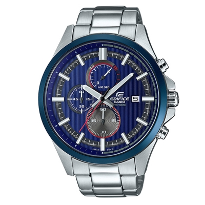 EDIFICE時尚運動風格動感藍色系直刻紋賽車腕錶(EFV-520RR-2A)-藍/47.2mm