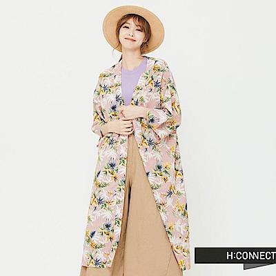 H:CONNECT 韓國品牌 女裝 - 飄逸仙氣草樣薄外套-粉 - 動態show