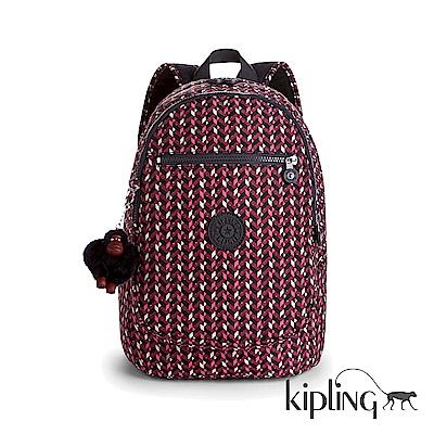 Kipling 後背包 磚紅幾何印花-中