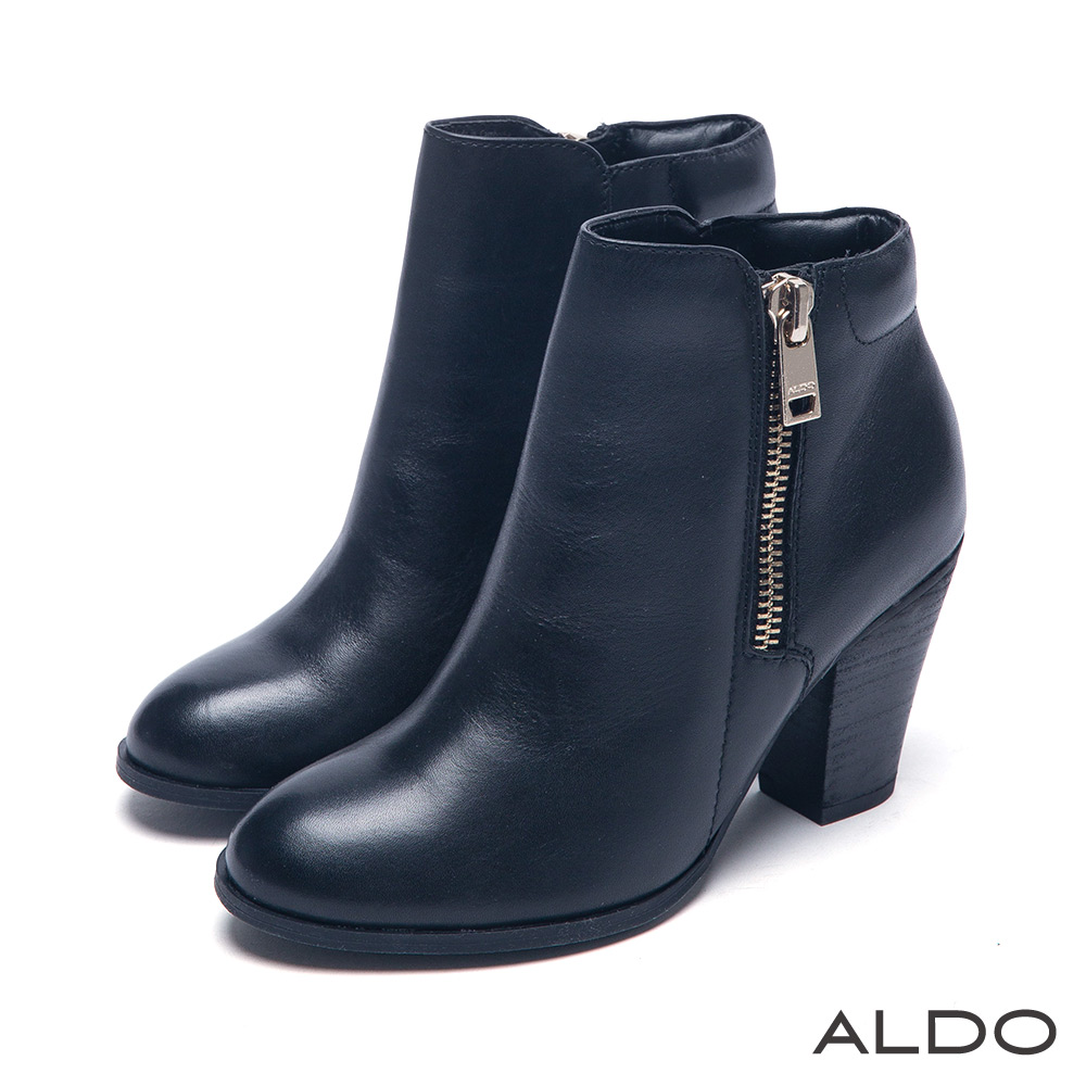 ALDO 摩登萬人迷原色真皮金屬拉鍊木紋跟短靴~尊爵黑色