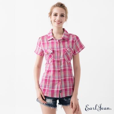 Earl Jean 彩色格紋短袖襯衫-桃紅-女