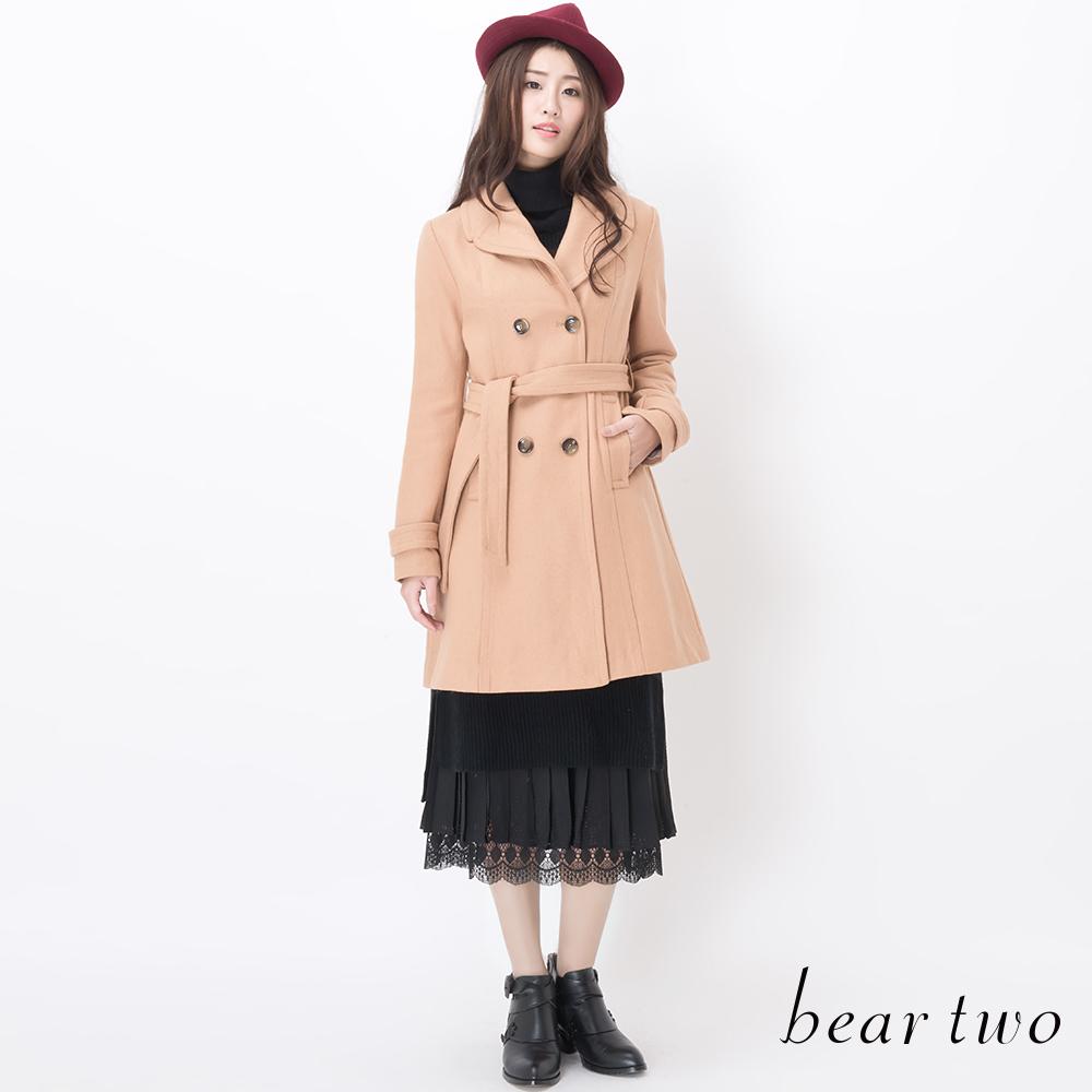 beartwo 網路獨家-西裝領雙排釦腰帶經典毛料大衣(卡其)