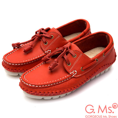 G.Ms. MIT系列-牛皮縫線綁帶帆船鞋-紅色