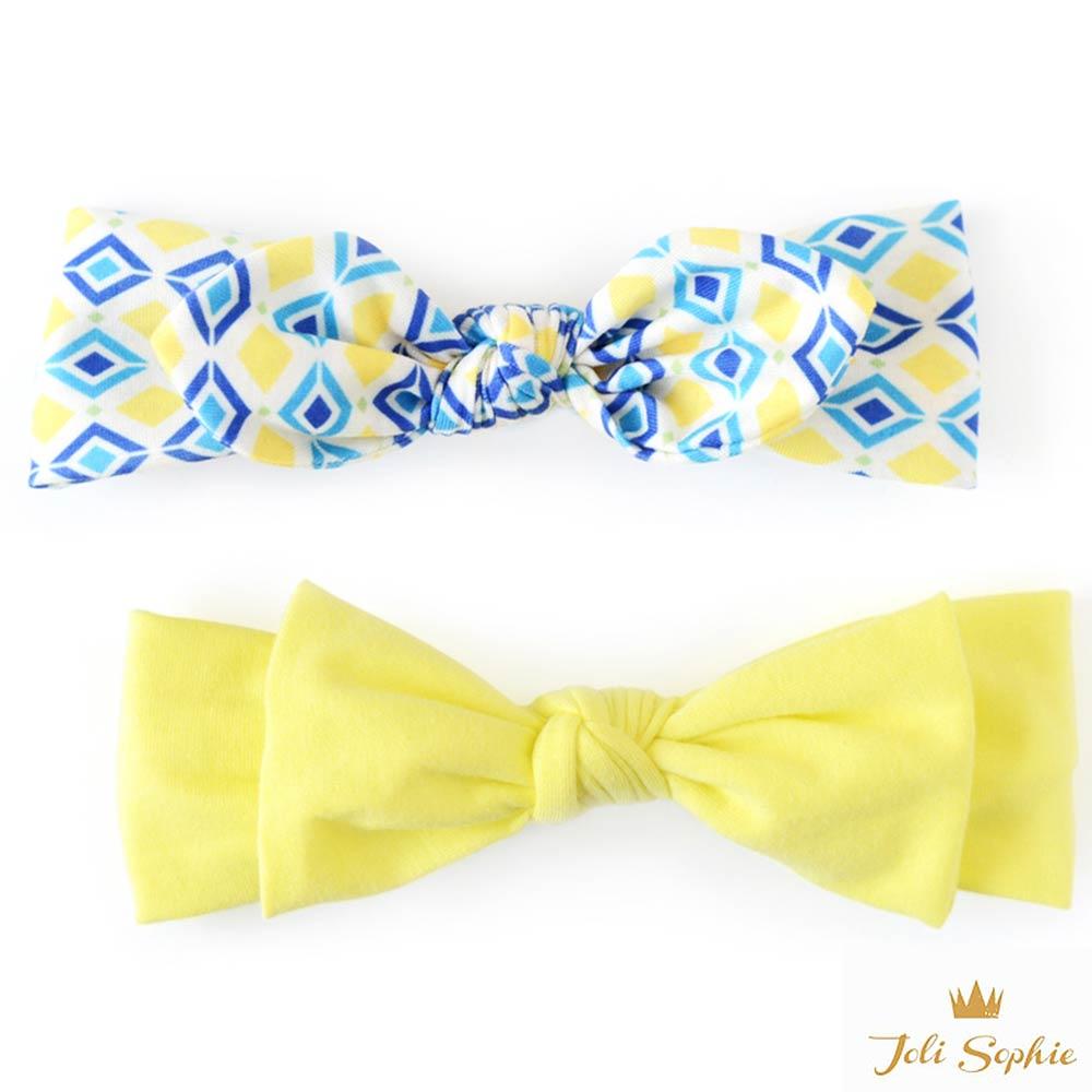 Joli Sophie 美國 黃藍方塊蝴蝶結髮帶2入組