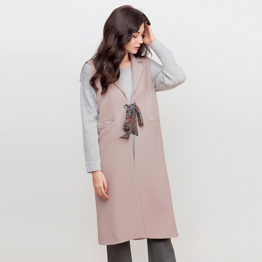 東京著衣-KODZ 西裝領絲巾背心-S.M(共二色)