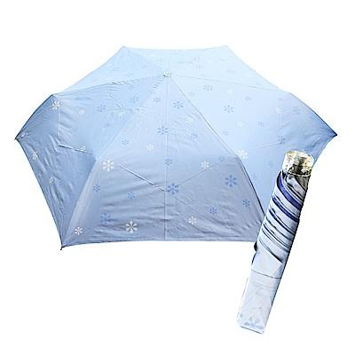 舒亦媚-抗UV防曬三折晴雨傘(雪花-藍底藍花)