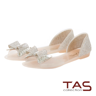 TAS 立體水鑽蝴蝶結魚口後包涼鞋-透膚粉
