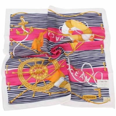 TRUSSARDI-海洋風情純棉領帕巾-桃紅