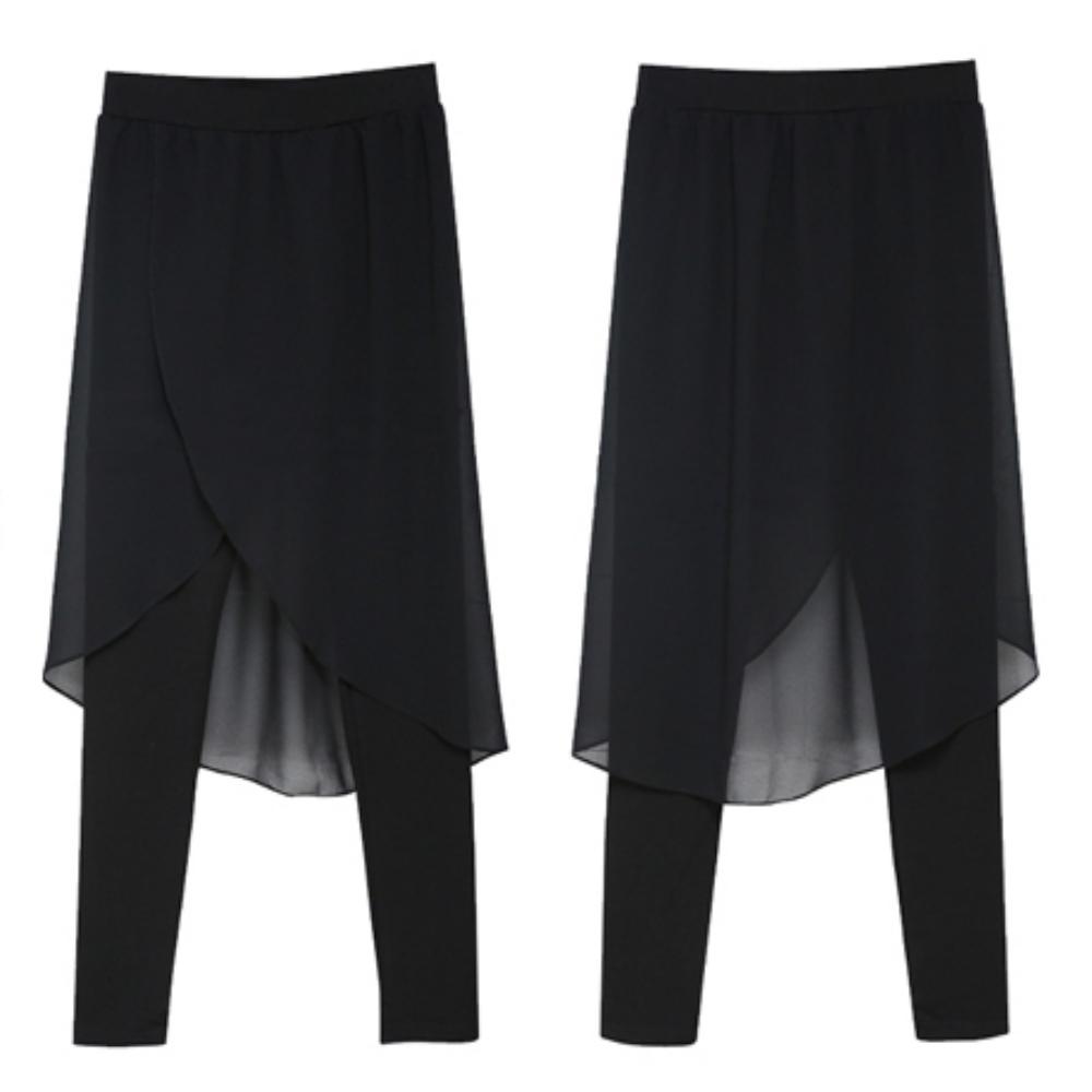 中大尺碼 假二件前短後長開叉雪紡裙拼接內搭褲XL~5L-Ballet Dolly